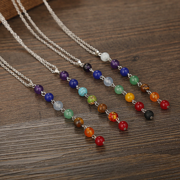 Silver Color Stone Chakra Necklaces Pendants Yoga Reiki