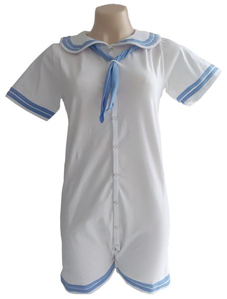 Сексуальный белые темно-синий равномерна Була отделки взрослых трико / взрослые onesie / АБДЛ onesie / взрослый Ромпер / темно-равномерного onesie