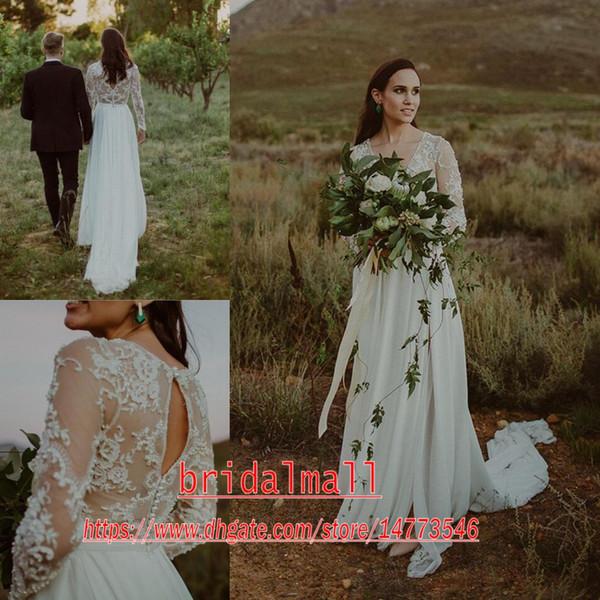Böhmische 2020 neue tiefe V-Ausschnitt mit langen Ärmeln Spitze Brautkleider Perlen Boho Land Brautkleider Sexy Backless A Line Brautkleid