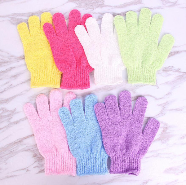Shower Bath Gloves Candy Color Exfoliating Wash Skin Spa Massage Scrub Body Scrubber Glove Highly Textured Surface Soft bathing gloves