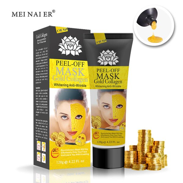 Peel Off Gold Collagen Mascarilla Facial Anti Winkles Mascarilla Facial Crystal Gold Powder Collagen Mascarilla Facial Productos para el Cuidado de la Piel 120ML