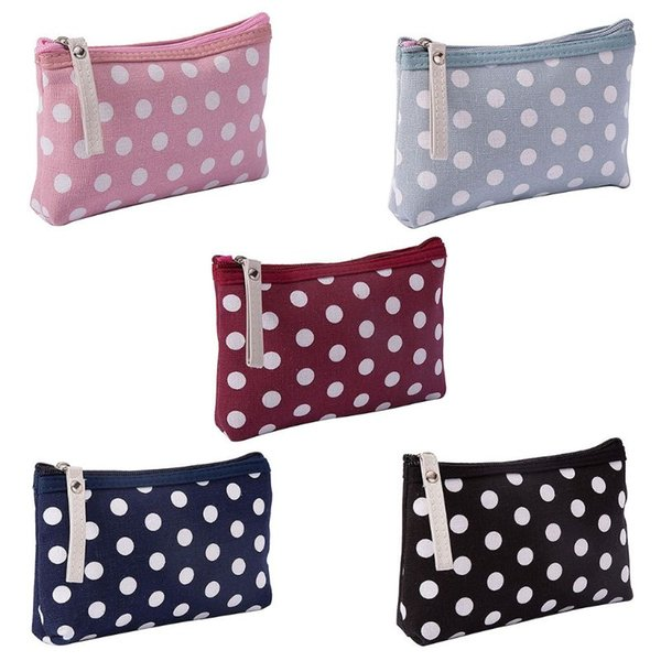Fashion New Canvas Dot Pencil Pen Case Bag Cosmetic Makeup Storage Bag Purse Pouch 5 Color