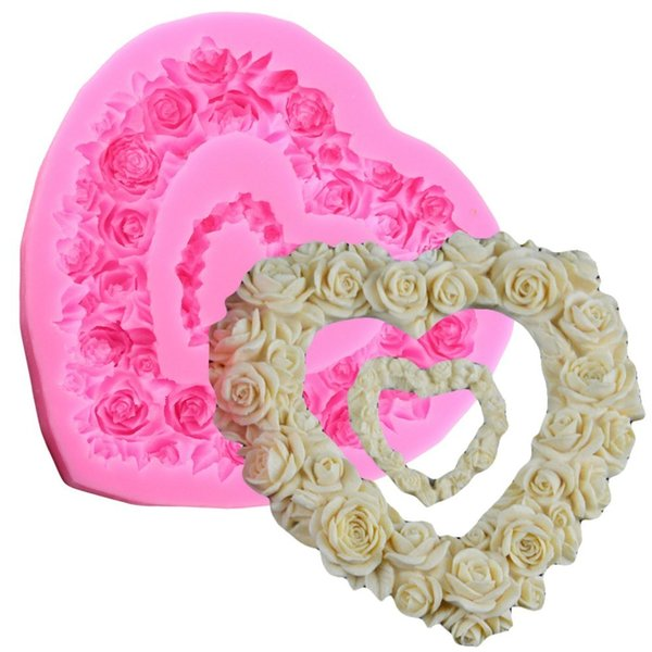 1pc 3D Love Heart Flower Shape Sugar Craft Silicone Mold Fondant Cake Chocolate Moulds Decorating Baking Tools