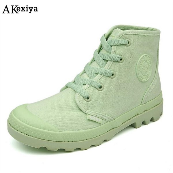 Akexiya British style high top canvas shoes for women Gray and black high quality woman's canvas Martin boots size 35-39 AK376