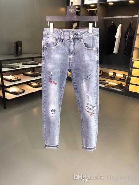 Porter manuel d'hommes à rétro-antique Bleu Slim Fit Motard Denim pour les hommes Fashion Designer Hip Hop Hommes Jeans Taille US 28-36