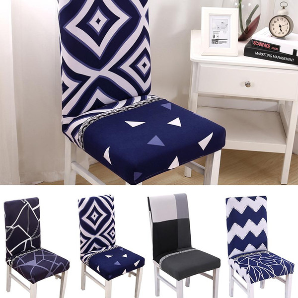 Spandex Elastic Printing Dining Chair Slipcover Modern Removable Anti Dirty  Kitchen Seat Case Stretch Chair Cover For Banquet 10 Seat Covers Dining ...
