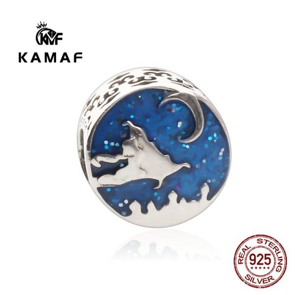 KAMAF 925 perles de trou bleu argent espace extérieur gros bracelet collier pendentif perles 100% en argent sterling