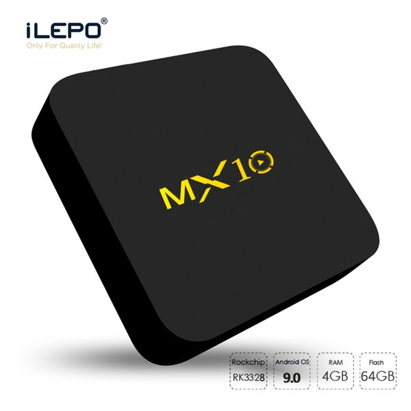 best selling Android 9.0 TV Box MX10 4GB ram 64GB rom Quad core RK3328 Smart TV Box 4K UHD video streaming Media Player