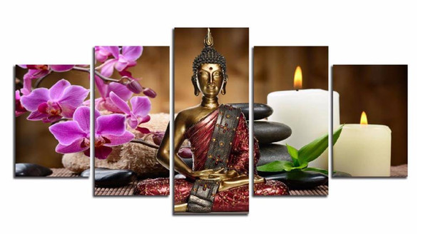 5 Pieces Canvas Print Modern Fashion Wall Art the Orchid candle Zen Stone Buddha Landscape for Home Decoration No Frame