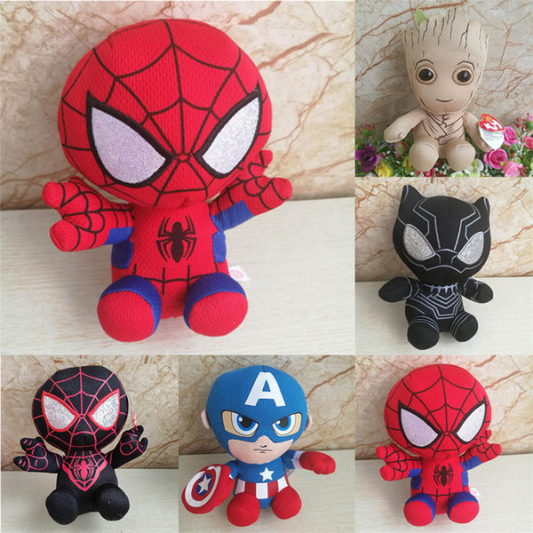 15cm ty The Avenger Super Hero Panther SpiderMan Tree Man American Captain Plush Toy Gifts for ChildrenGifts for Children
