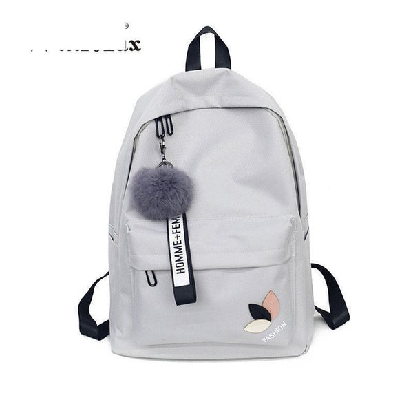 Factory Outlet Women Teenage Schoolbag Fashion Fur Ball Girls Backpack College Female High School Student Printing Back Pack Bag