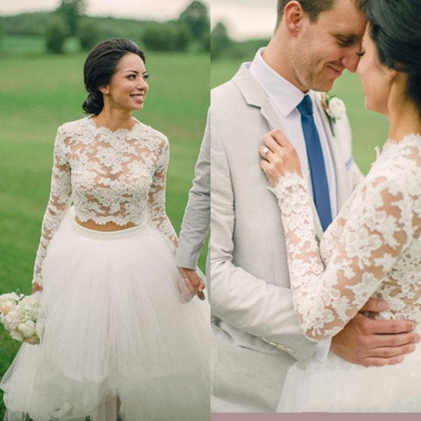 Lace Long Sleeves Wedding Dresses Boho Two Pieces Country Bohemian Bridal Wedding Gowns Cheap HOT SELLING!!!