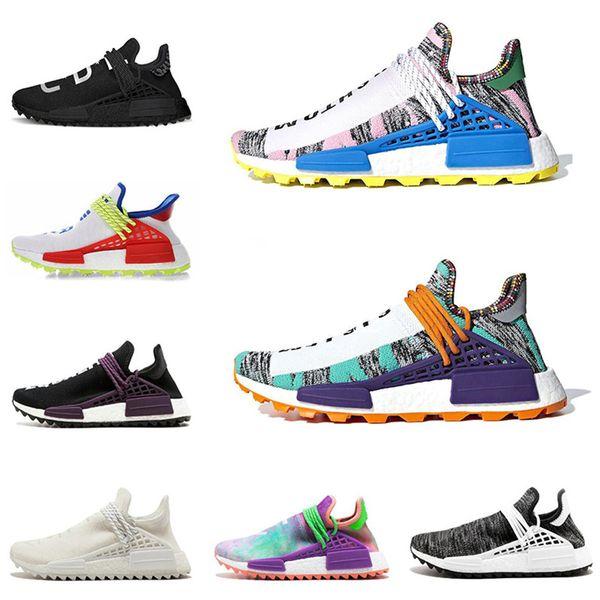 Nouveau designer Human Race mens chaussures de course Equality Pale nude Toile Craie Coral Pale nude Noir Rouge femmes sneakers de sport taille 5-11 bj