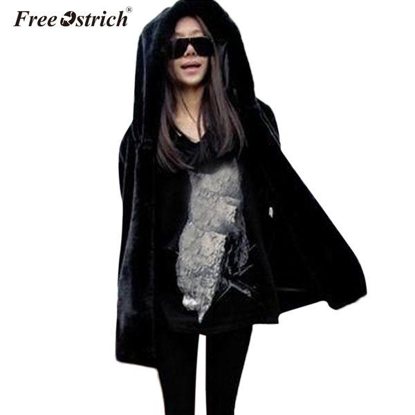 Free Ostrich Faux Fur Coat With Hood High Waist Fashion thick warm Loose Black Faux Fur Jacket long Sleeve Winter Women N30