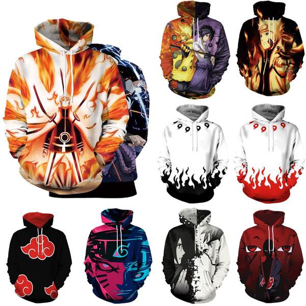 Mens womens designer hoodie sweatshirt sweat coat pullover jackets new anime character Naruto Sasuke 3D printing digital printing