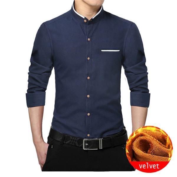 wholesale Men Clothes 2018 Winter Shirts Men Long Sleeve Velvet Shirt Warm Mandarin Stand Collar Thick Business Shirt plus