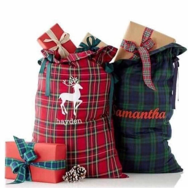 Christmas day gift decoration santa gift bags wholesale plaid santa sack high quality soft polyester 50pcs/lot