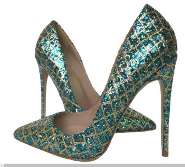Moda nuevo azul con lentejuelas zapatos de tacón alto de la mujer de tacón fino puntiagudo solo-zapato zapatos de fiesta de boda 12cm 10cm 8cm 2 color tamaño grande 44