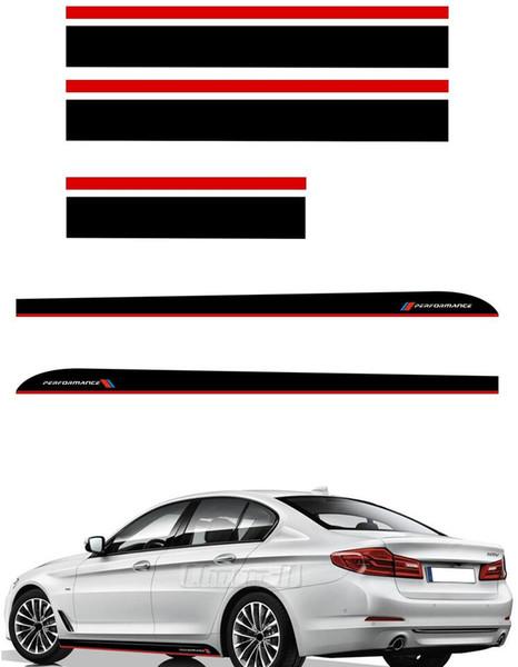 Noir rouge M Performance côté jupe autocollant capot coffre de toit rayures autocollants de décalque de vinyle pour BMW F20 F30 F10 F31 F11 F11 F01 F22 F32