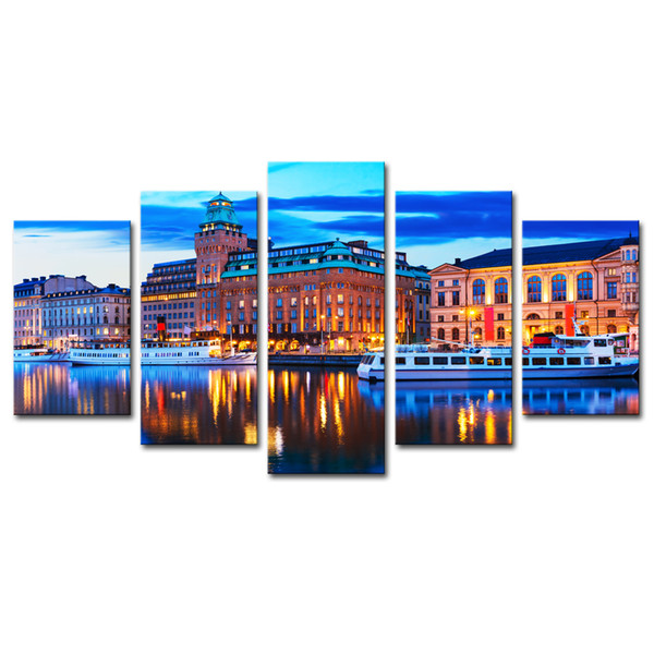 Canvas Prints Wall Art 5 Pieces European City Scenery Painting Landscape Picture Print Artworks for Living Room Decoration Unframed