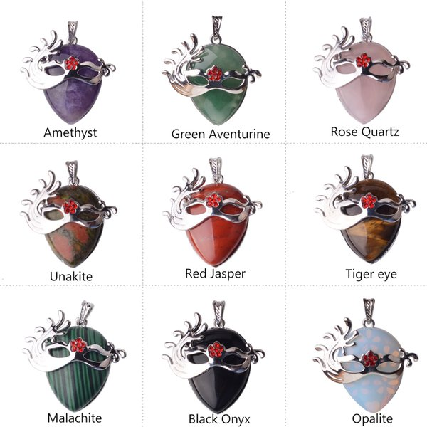 Fox Dancer Crystal Mask Pendant Pendant (Silver) Natural Amethyst Quartz Gemstone Pendant Fox Dancing Mask Chakra Healing Point Necklace