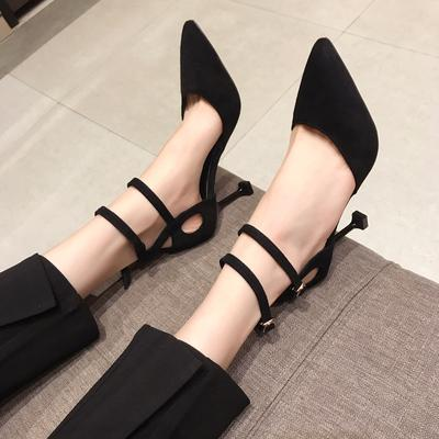 Small fresh girl high heels female 2019 spring new Korean version of the pointed sexy with dress models with a single shoes tide