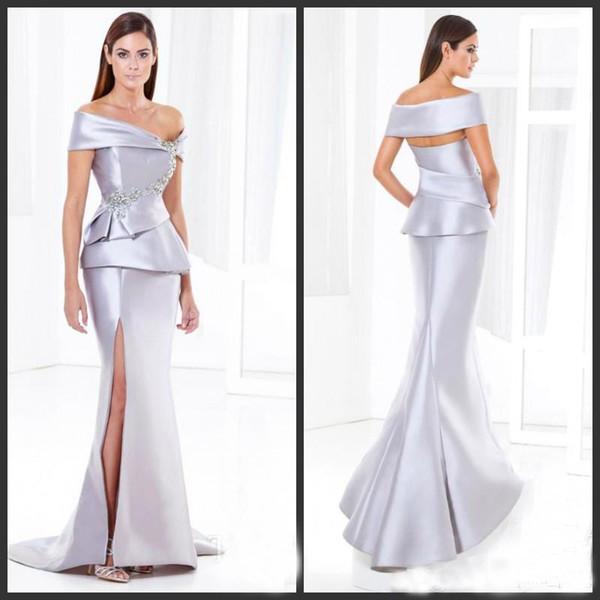 Yüksek Kalite Gümüş Mermaid Anne Gelin Elbiseler Saten Kapalı Omuz Kollu Yüksek Uyluk Bölünmüş Boncuklu Balo Abiye Uzun