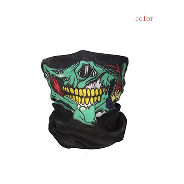 Cycling face mask Multicolor 48x23cm Bicycle Ski Skull Half Face Mask Ghost Scarf Multi Use Neck Breathable outdoor masks #C