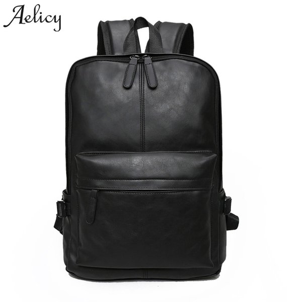 Aelicy Bagpack Men Backpacks Pu Leather Vintage Laptop Backpack Fashion Women Backpack High Quality Youth Leather Women Rucksack Y19061102