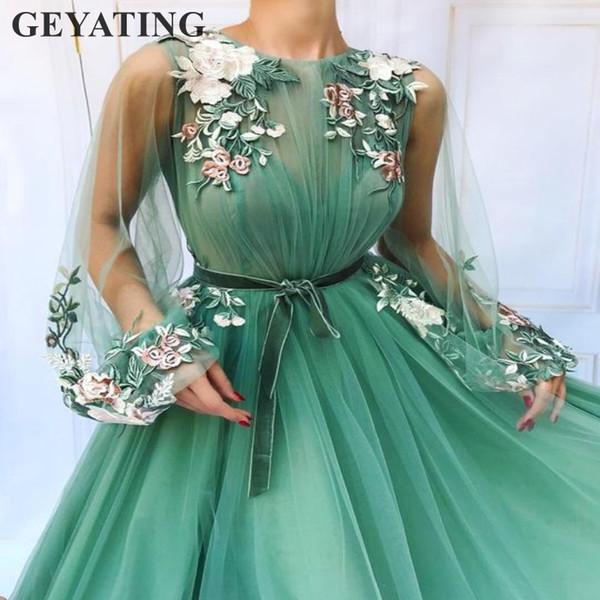 Luz verde esmeralda de tul mangas largas vestidos de baile 2019 mujeres elegantes vestidos de noche formales bordado flor vestido de fiesta de la cena
