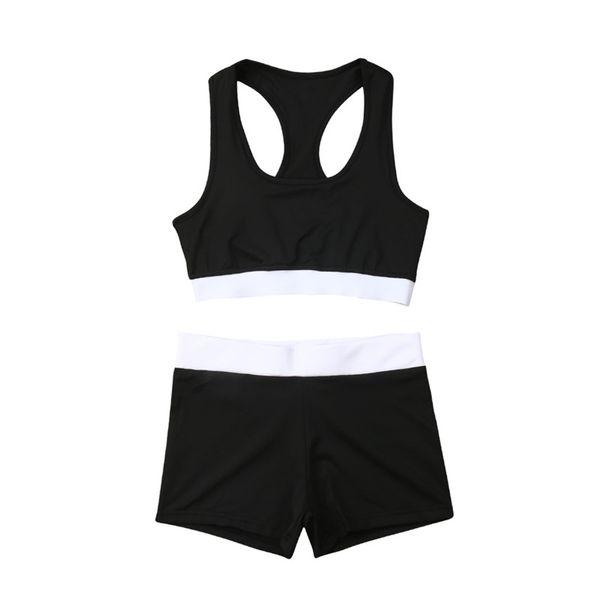 Fashion Women's Outdoors Tracksuit Sport Bra Sweat Shorts Sets Sport Wear Suit Sleeveless Tops Ladies Summer Clothes Set