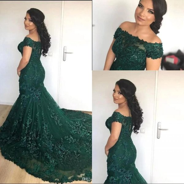 2019 African Dark Green Mermaid Evening Dresses Off the Shoulder Lace Sequins Corset Back Long Prom Celebrity Gowns