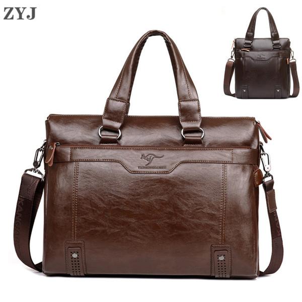ZYJ Men's Business Leather Shoulder Laptop Briefcase Bags Sling Travel Messenger Portfolio Bag Causal Bolsa Lawer Handbag