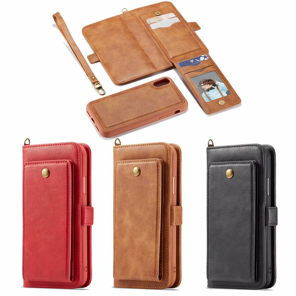 YINENGXIN For iPhone XS Max Case Leather Wallet 2 in 1 Detachable Retro Flip Case For iPhone XR X 7 8 Plus Phone Case Shockproof