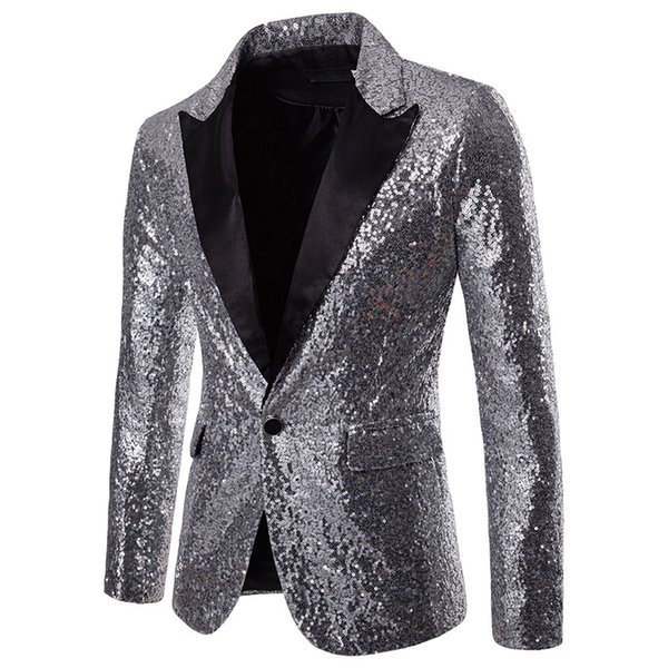 Best Selling 2019 spark Sequins Mens Suits Slim Fit Groomsmen Wedding Tuxedos For Men Blazers Notched Lapel Prom Suit