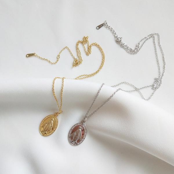 Neue Ankunft populäre 925 silberne Halskette Religion Maria goldene hängende Halskette für Frauen und Männer für Geschenk und tägliches Tragen