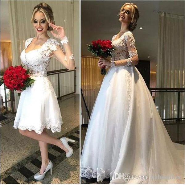 섹시한 놀라운 두 조각 레이스 웨딩 드레스 라인 환상 다시 긴 소매 웨딩 드레스 분리 스커트 Vestidos 드 노비