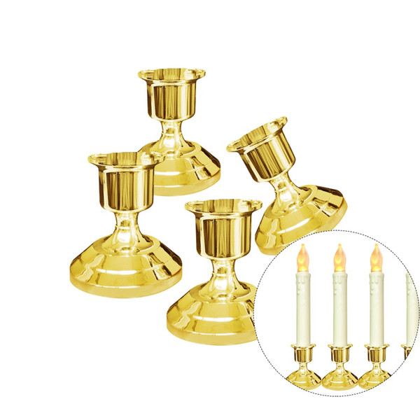 Silver/Gold Plated Candle Holder Sticker Candles Holder For Candles Fake Tapers Christmas Party Decors Free Ship