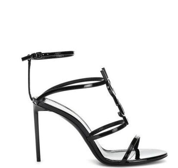 Top qualité 2019 luxe Designer style Brevet En Cuir En Cuir Thrill Talons Femmes Unique Lettres Sandales Robe De Mariage Chaussures Sexy chaussures 35-41