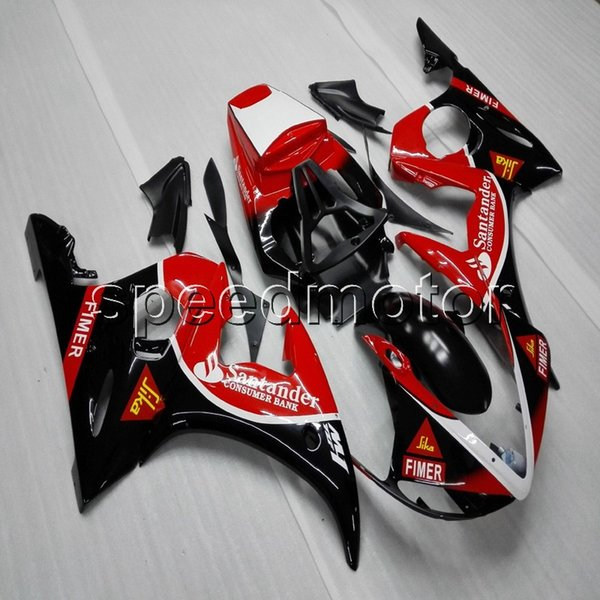 Custom Screws + artículo rojo negro carenado de motocicleta ABS para Yamaha YZFR6 03-05 YZF-R6 2003 2004 2005 Body Kit paneles de motor