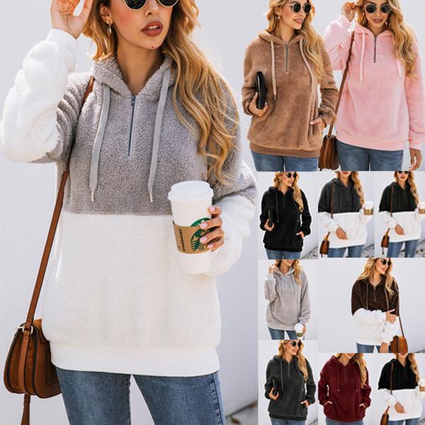 Femmes Sherpa Outwear automne hiver fourrure Pull Tenues 1/4 fermeture éclair Sweat à capuche avec Chemisier de poche en vrac manteau à capuchon Fluffy Pull en molleton C92608