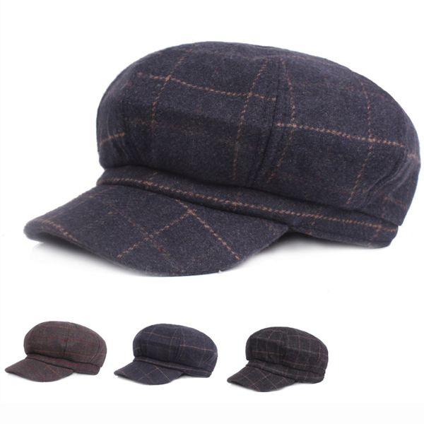 HT1820 High Quality Newsboy Caps for Men Women Retro Plaid Octagonal Caps Wool Blend Men Women Berets Autumn Winter Beret Hats