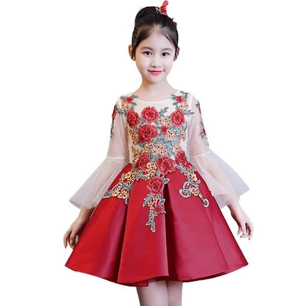 Kinder Mädchen Blumenmädchenkleider für Kinder Hochzeit Erstkommunion Kleider Formelle Party Prom Kleid Plus Size