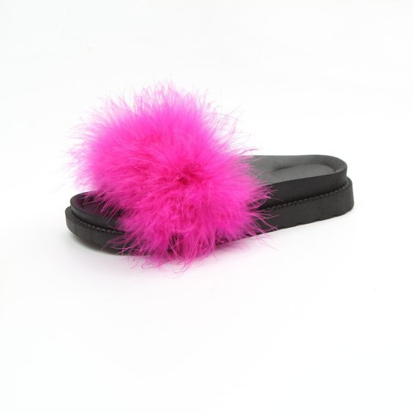 2019 Casual Leisure Soft Woman Slippers for Home Flat Solid Fur Slides Spring Autumn Open Toe Anti-slip Fuzzy Shoes