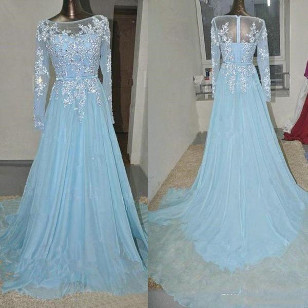 Sheer collo pizzo applique Paillettes Prom Dress chiffon per le donne Light Blue Cristalli dei vestiti da sera maniche lunghe arabo Plus Size