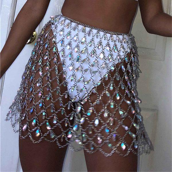 Sexy Bling Do Corpo Do Metal Cadeia de Diamantes Saia Mulheres Verão Beachwear Oco Colorido Rainha boate de cristal Partido Saias Roupas
