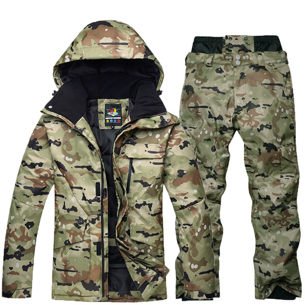 -30 camouflage men snow clothes skiing suit sets specialty snowboarding sets waterproof thicker cotton snow jackets and pants thumbnail