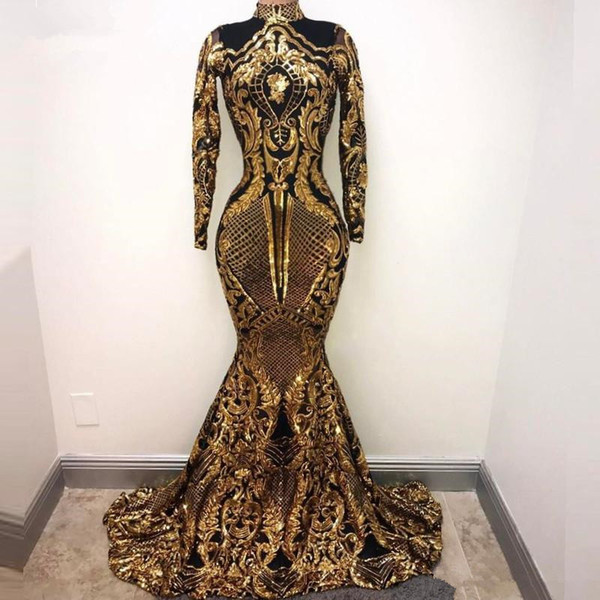 Gold and Black Sequined sparkly Long Sleeve Evening Dresses 2019 Floor Length Long mermaid high neck Party Dresses for Women Prom Gowns