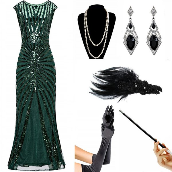 8c261d18e88f2 QUALITY 6pcs/lot Formal Evening Bridesmaid Dress 1920s Party Sequin Mermaid  Cocktail Long Flapper Gown