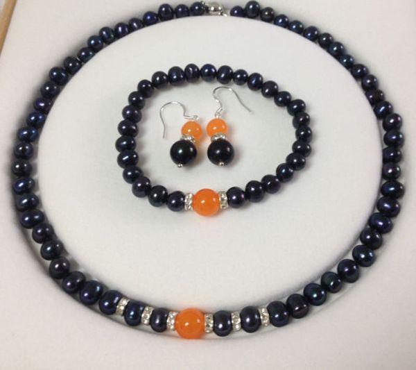 Natural Black Akoya Cultured Pearl/Orange Jade bracelets necklace earrings set jade